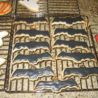Bats   Bats NFSC with royal icing, my black icing was a little on the stiff side so some of the bats look bumpy :(