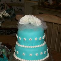 Tiffany Blue Daisy Two Tierd Fondant Cake This was a cake I made for my sisters wedding shower. It was my first tierd cake and my first fondant. It was very stressful. I have never...