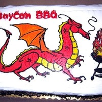 Dragon Bbq A cake I made for the staff BBQ of a local fantasy/sci-fi convention. Appropriately for a dragon, the cake was Burnt Almond.