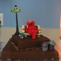 Elmo This was a dark chocolate cake with dark chocolate buttercream frosting. Elmo is made from rice crispy treats then frosted. Everything else...