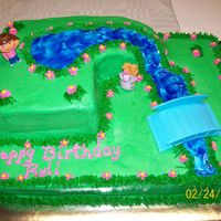 Dora The Explorer This was made for a little girls second birthday. It was a half sheet cake with a partial 9x13 on top.