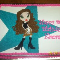 Bratz I used the projector to get the picture onto the cake. It was for a cousin's birthday. She loved it!