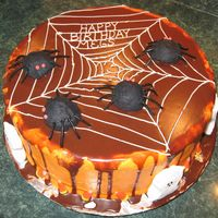 "Spider 13Th Birthday   Chocolate Cake w/Red Raspberry gooey filling. Chocolate ganash ""ooze"" over buttercream."