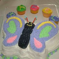 Butterfly Birthday Butterfly pan decorated wih BC for granddaughter's 1st birthday