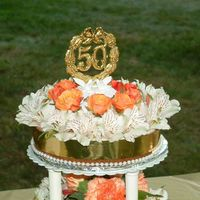 Mom And Dad 50Th Anniversary Low-Sugar Cheesecake Cheesecakes with fresh flower decorations, wrapped with gold ribbon and plastic beads. Made for Mom and Dad. Mom is diabetic and...