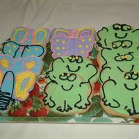 Dragonfly And Frog Cookies Made to go with butterfly cake for oldest granddaughter's first birthday. Sugar cookie with BC icing.