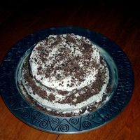 Vanilla Cake With Chocolate Shavings  I made this one night for my family. It's chocolate cake with vanilla butter-creme icing. And chocolate shavings. It was easy and fun...