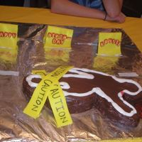 "Murder Scene I made this for a murder mystery party. The cake is funfetti cake mix with chocolate butter-cream icing and vanilla icing for the ""..."