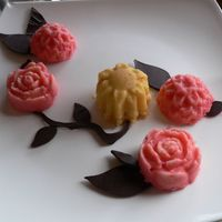 Flower Petit Fours  Vanilla petit fours. Soaked in pink and yellow glaze. With chocolate leaves (used the wilton fondant leave cutter) and vines(my friend did...