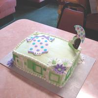 Mod Mom Baby Shower Cake Color Flow Mod Mom to match napkin for baby shower. BC icing w/fondant daisies and cutouts.