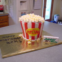 "Popcorn Birthday Cake This was a birthday cake for my mom who LOVES popcorn. Thanks to CC for the inspiration! All BC w/fondant stripes, marshmallow ""..."