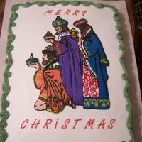Three Wise Men This is a repeat of a cake I did last year. It is an 11x15 with a FBCT. I love this cake, but man I hate mixing up all those colors!!