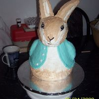 "Peter Rabbit This was for a baby shower. I used the wonder mold pan for the body with 2 8"" round under it. The head and ears are made of rice..."