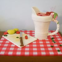 Sipping Strawberry Lemonade The pitcher is fondant with hard candy lemonade, gumpaste fairy with gelatin wired wings and royal icing hair. Cutting board and...