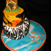 African Cake Birthday cake for a vet who just got back from taking students to Africa. All fondant. Thanks to everyone who has done this or similar...