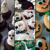 Halloween Cupcakes Halloween cupcakes for a 4-year-old's bday party. Ghosts are meringue. TFL! :)