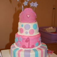 1St Birthday Cake strawberry bottom and other two tiers is wasc...mmf accents...crown and stars made from gumpaste...