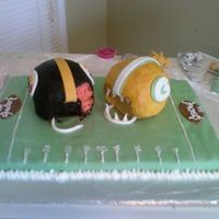 Super Bowl made for my uncles superbowl party...he is a browns fan so of course he was not wanting the steelers to win...hence the bite out of the...
