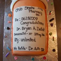 Pill Bottle Graduation Cake this was the main cake for a guy that graduated from pharmacy school...he went to ohio state...(see other cake)...it was wasc cake covered...