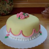 "Grandma's Cake I made this for my grandma's speech therapy group. Buttercream with MMF for the top and MMF ""flowers"" I didn't really..."