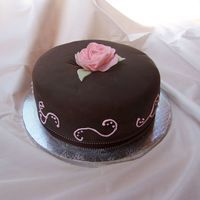 Mom's Birthday Cake I made this for my mom's bday. Chocolate cake with cherry filling and chocolate fondant. This was my first fondant rose and I had no...