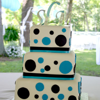 Sarah W 6,8,10 square with white fondant, real ribbon and fondnat polka dots. thanks for looking! all comments appreciated!