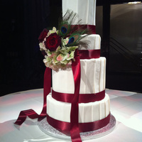 Sarah pleated fondant, tiers of different heights, and fresh flowers thanks for looking!