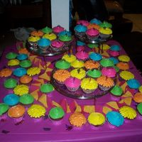 Bright Colored Cupcakes These were for my sister's 25th birthday party. I used different tips to make them look different, the colors match the decor. They...