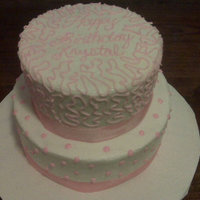 2 Tier White And Pink Cake