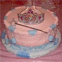 Princess Crown Cake Buttercream icing with fondant bows, banner, & ribbon. Design by naturepixie here on cakecentral.