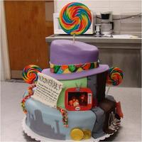 Willy Wonka Cake I made this for the Sacred Heart Players Willy Wonka Cast Party. All decorations are replicas of the props and sets that were built for the...