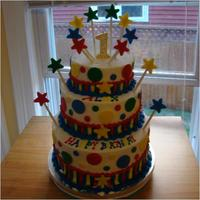 Alex's 1St Birthday Cake This was the cake I came up with for my son's 1st birthday. Our theme was just the bright primary colors.