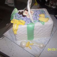 Baby Shower Basket Fondant basket, which fell apart. Chocholate and fondant accents. TFL