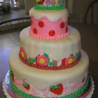 Strawberry Shortcake Cake My 1st time working with fondant & with a 3 tiered cake. Tiers are chocolate cake, strawberry cake & yellow cake. BC icing with...