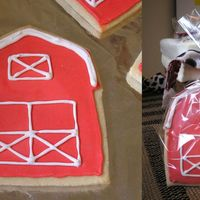 Barn Cookie My first time making iced sugar cookies! I made them as party favors for my son's 1st birthday party next weekend. I used the No Fail...