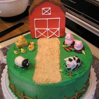Farm Cake Farm cake I made for my son's 1st birthday. I still need to put grass around the base of the barn, but with the barn attached the cake...