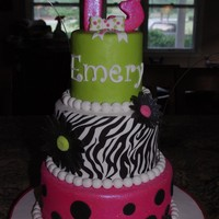 "Happy Birthday!   Sizes of cakes are 8"", 6"" and 4"". Top and bottom layer was chocolate cake and center was french vanilla."