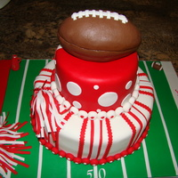 Cheerleading & Football Birthday Cake I was asked to incorporate one cake for two birthday kids, which were different ages. One child was turning one and the other sibling was...