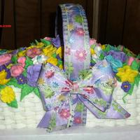 My First Basket POUND CAKE,HOME MADE BUTTERCREAM & ROYAL ICING FLOWERS.