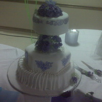 Purple And White Cakepic #1 FONDANT CAKE WITH CORNSTARCH PAPER DESIGNS AND EDIBLE PEARLS