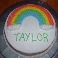 Wilton Course 1 Rainbow Cake  I'm really happy with this cake! I need to work on my writing (I think my letters got taller towards the end) but other than that I...