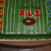 Super Bowl Xli This is a half lemon/white cake. All BC icing. Wilton cutters for the names of the teams.