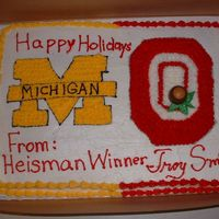 Ohio State And Michigan A friend of mine asked me to make this for a work meeting that will be in Michigan. All buttercream icing-half yellow/half white cake. Real...