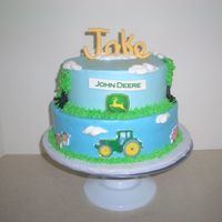 John Deere chocolate and red velvet cake with cream cheese icing, and edible image plaques