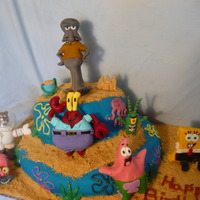 Sponge Bob And Friends  Two tier cake covered in MMF. Flowers and jelly fish are buttercream. Leaves, shovel and pail are candy melts. Graham cracker crumb sand...