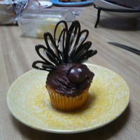 Turkey Cupcakes  Yellow cupcake with chocolate frosting. Hershey kiss head. I used almond bark to pipe the wings onto wax paper, put them in the fridge to...