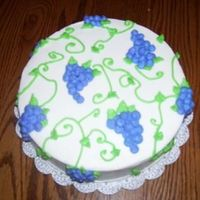 Grape Cake this was my end of course 1 cake. since wilton violet icing color really comes out blue, i bought the pre made wilton violet color. it was...