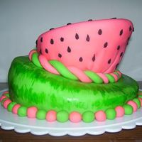 Watermelon Topsy Turvy  ok im am completely aware of the imperfections on the top layer. its driving me nuts! but hey, this is my first stacked cake, first topsy...