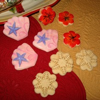 Birthday Cookies  3 different English Tea Cookie designs. Hand painted flowers, fondant decorated shells for birthdays and simple plain snowflakes for...