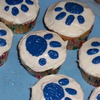 Blue's Clues Paw Prints Cupcakes iced and decorated with buttercream.